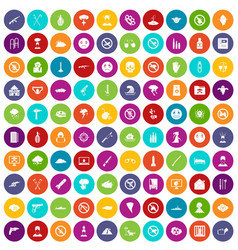 100 tension icons set color vector