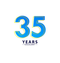 35 years excellent anniversary celebration blue vector