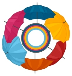 Abstract background with colored umbrellas for vector