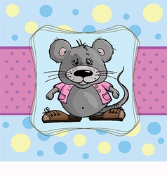 Baby card with a mouse on a blue background vector