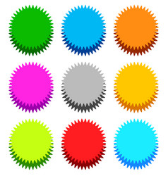 Badge starburst sunburst with shadow in 9 color vector