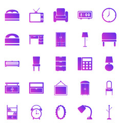 Bedroom gradient icons on white background vector