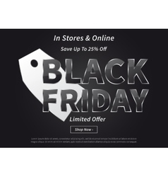 Black Friday with silver price tag vector