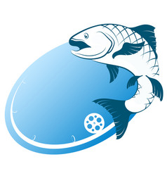 Blue fish and fishing rod vector