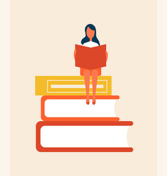 books set with woman sitting vector image