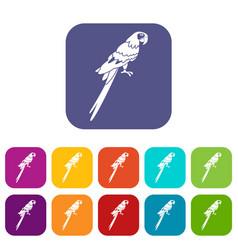 Brazilian parrot icons set flat vector