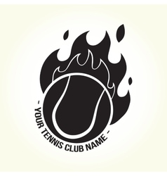 Burning tennis ball logo vector image