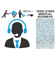 Call Center Icon with 1000 Medical Business vector image