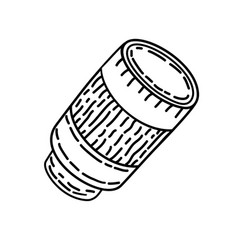 camera lens icon doodle hand drawn or black vector image