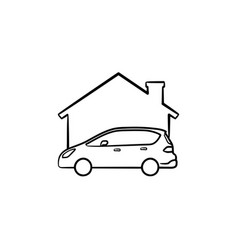 car garage hand drawn sketch icon vector image