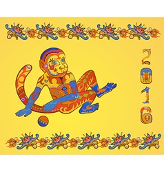 Card with ethnic ornamented multicolor monkey vector