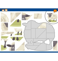 Cartoon sheep jigsaw puzzle task vector