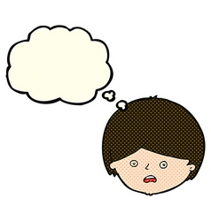 Cartoon unhappy boy with thought bubble vector