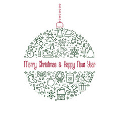 christmas and new year line icon xmas ball vector image