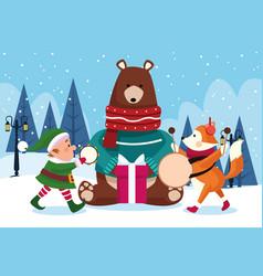 Christmas animals and santas helper playing vector