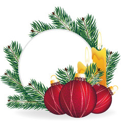 Christmas pine wreath and decorations vector