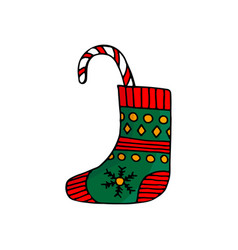 christmas stocking with striped candy cane vector image