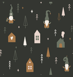 christmas time seamless pattern in scandinavian vector image