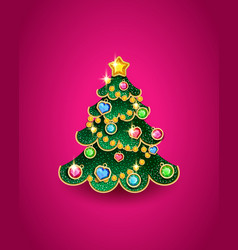 christmas tree in shape a tree vector image