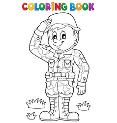 Coloring book male soldier theme 1 vector