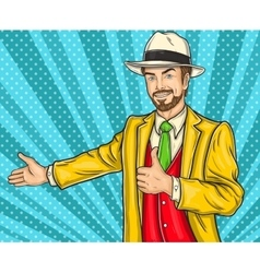 Confident pop art hipster man invites you to the vector image