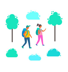 couple man and woman with backpacks isolated vector image