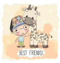 Cute Boyl and Giraffe vector