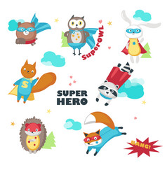 Cute little superhero animals isolated vector