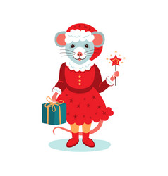 cute rat character christmas card cartoon mouse vector image