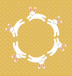 Cute white bunny circle decoration vector