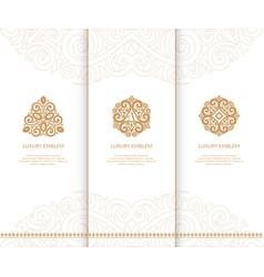 different ornament beige emblemsc vector image