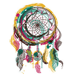 Dream catcher with ornament vector