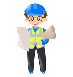 engineer wearing safety hat and holding files vector image