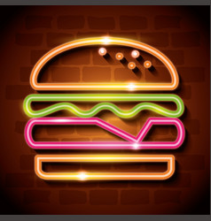 fast food burger neon label vector image