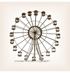 Ferris wheel sketch style vector