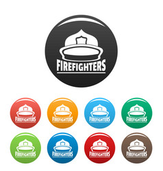 firefighters helmet icons set color vector image