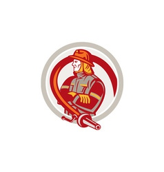 Fireman Firefighter Standing Folding Arms Circle vector