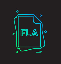 Fla file type icon design vector