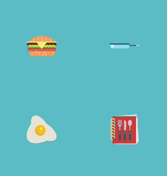 Flat icons skillet cooking notebook omelette and vector