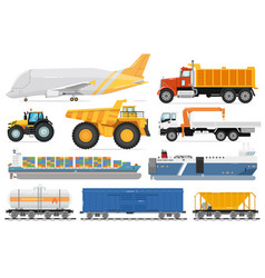 freight transportation set cargo shipping vehicle vector image