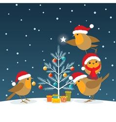 Funny Christmas Robins vector image vector image