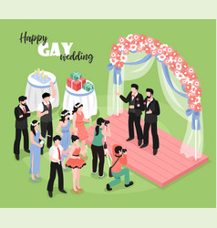 Gay wedding isometric vector