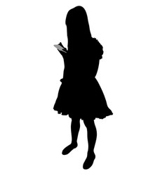 girl in beautiful dress with phone vector image