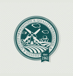 green stamp organic label eco emblems for vector image
