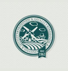green stamp organic label eco emblems vector image