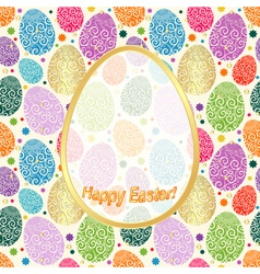 Greeting Card Happy Easter with colorful eggs a vector image