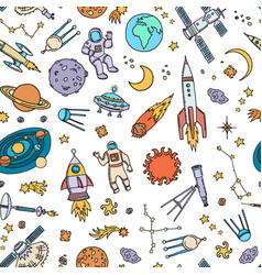 hand drawn space elements background or vector image