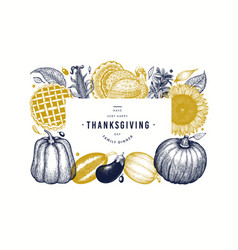 happy thanksgiving day banner hand drawn vector image