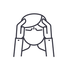 headache concept thin line icon symbol vector image