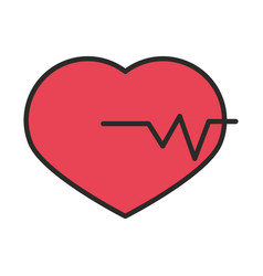 heartbeart medical science analysis line and fill vector image